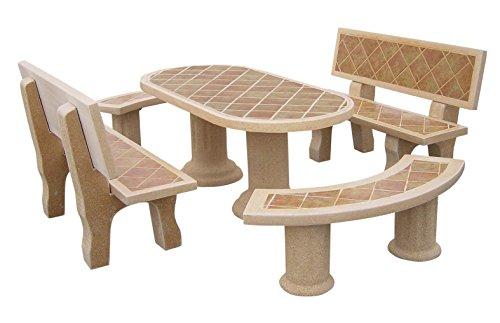 Conjunto Mesa Comedor Jardin DE Piedra Artificial Color Tostado. Mesa+ Cuatro Bancos.DORADATOSTADA