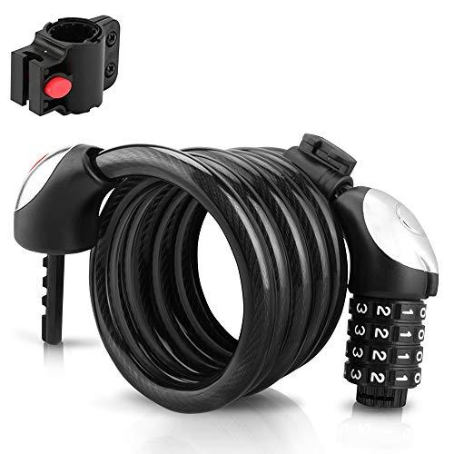 GANZTON Candado de cable largo para bicicleta, candado de combinación con código numérico de 4 dígitos, resistente al agua, seguro reajustable, con luz para bicicleta, moto y puerta