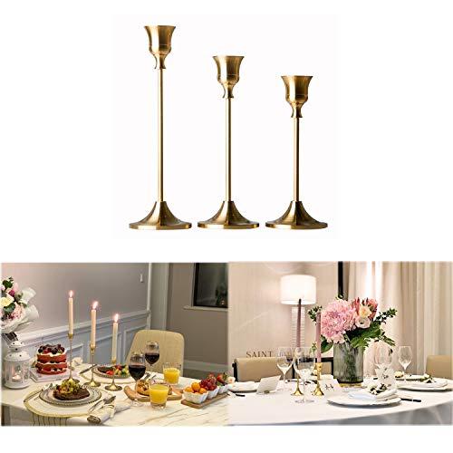 RXXR Kerzenständer 3 Stück/Satz in Unterschiedlicher Größe, Tabelle Hochzeit Kerze Stand, 15/18/23cm Kerzenhalter für Abendessen bei Kerzenlicht Kerzenständer Dekoration, Gold