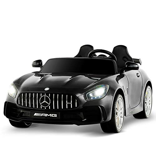 Uenjoy 2 Seater 12V Electric Kids Ride On Car Mercedes Benz AMG GTR Motorized Vehicles with Remote Control, Battery Powered, LED Lights, Wheels Suspension, Music, Horn, Compatible with Mercedes,Black