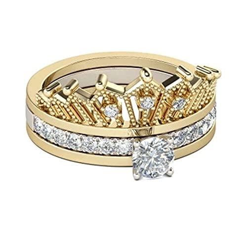 Chuanhao Anillo de corona 2 en 1, desmontable, aleación de estrás, accesorios de joyería para hombres y mujeres