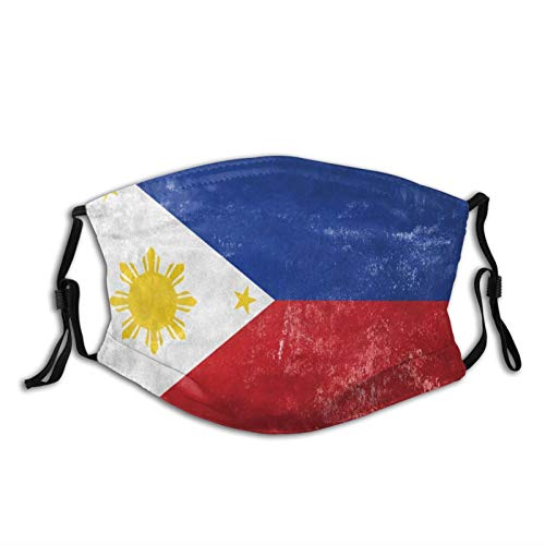 Fashion Comfortable Windproof mask,Filipino Flag On Old Grunge Texture Theme Illustration,Double Printed Facial decorations for adult