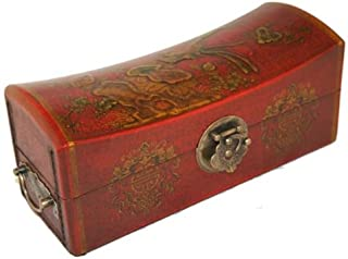 Asian Home Vintage Chinese Jewelry Keepsake Box W. Leather Surface