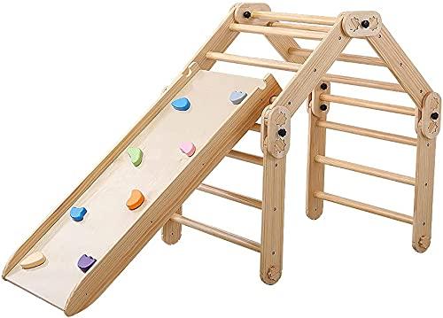 Dripex Klettergerüst mit doppelseitiger Rutsche, Multi-Kombination Kletterdreieck und Rutsche für Kinder, Indoor Massivholz Faltbar Ausbildung Spielplatz