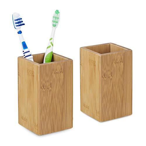 Relaxdays 2 x Zahnputzbecher Bambus, Zahnbürstenhalter eckig, Bambusbecher für Zahnbürste und Zahnpasta, HBT 11 x 6,5 x 6,5 cm, Natur