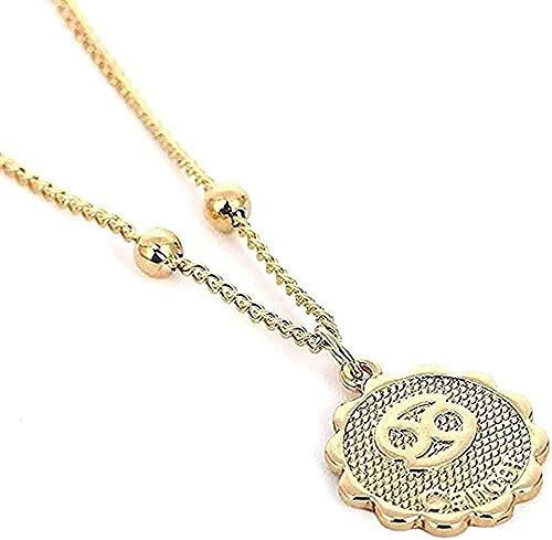 Collar de 12 constelaciones con colgante en relieve, collar de cadena de cobre del zodiaco, collar de horóscopo para mujeres, regalo, collar para niñas y niños