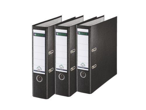 Leitz 310335095 Qualitäts-Ordner Plastik-Cover (A4, 8 cm Rückenbreite, 3er-Pack) schwarz