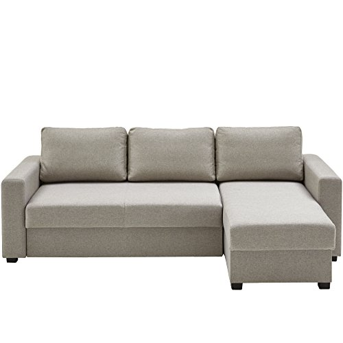 Atlantic Home Collection DUBLIN Schlafsofa mit Bettkasten, Polyester, Warmes Grau, L-Form Sofa