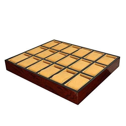 Pintura Expositor de madera Bandeja de almacenamiento de joyería contra la joyería altos estándares de red de 18 del reloj de madera bandeja de almacenamiento especiales Inicio (Color: Marrón, Tamaño: