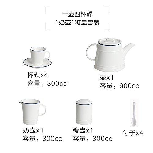 LOYWT Keramik Kaffeetasse, europäischen Stil Schale, Kaffee Set, nordischen Stil Kaffee, Tee am Nachmittag, einen Topf mit vier Tassen und Milch Wasserkocher
