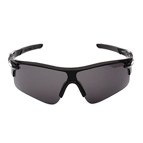 Sekishun-cho Outdoor Sports Athlete's Sunglasses for Cycling Fishing Golf,100% UV Protection (Black)
