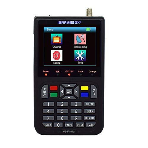 TELAM Buscador de satélite Digital Medidor Detector de señal LCD de 3,5 Pulgadas Batería incorporada de 3000 mAh con Salida de Sonido para Ajuste de Antena parabólica con Bolsa Protectora (Negro)