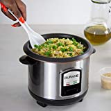 DURANE Electric Rice Cooker 800ml Stainless Steel Cook/Warm Functions and Vented Glass Lid