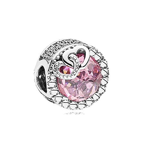 Desconocido JCaleydo - Cuore rosa in argento Sterling 925 con scatola regalo, compatibile con bracciale Pandora
