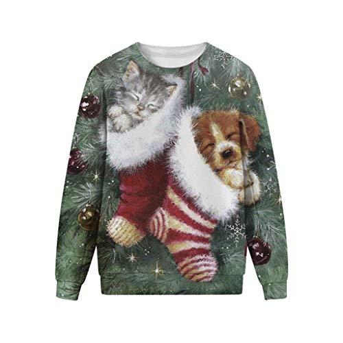 KPILP Unisex Weihnachtspullover T-Shirt Rundhals-Ausschnitt Sweatshirt Weihnachten Pullover Christmas Ugly Sweater Langarmshirt 3D Gedruckt Bluse