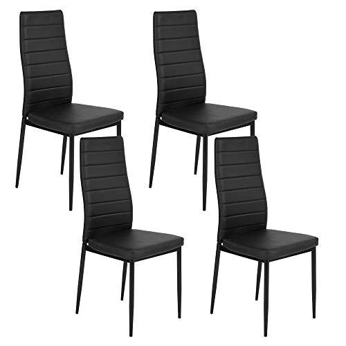 Furniturer Set di 4sedie Alto a Costine Moderno Morbido in Pelle Sintetica della Sedia Cena