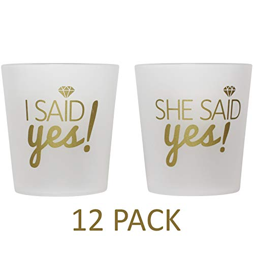 "Bridal 2 oz. Shot Glasses 12 Cups Set - 1 ""I Said Yes!"" & 11 ""She Said Yes!"" - Bridesmaids, Engagement, Bachelorette, Shower Party, Wedding - Props, Favors - Frosted & Gold - High Quality Guarantee"