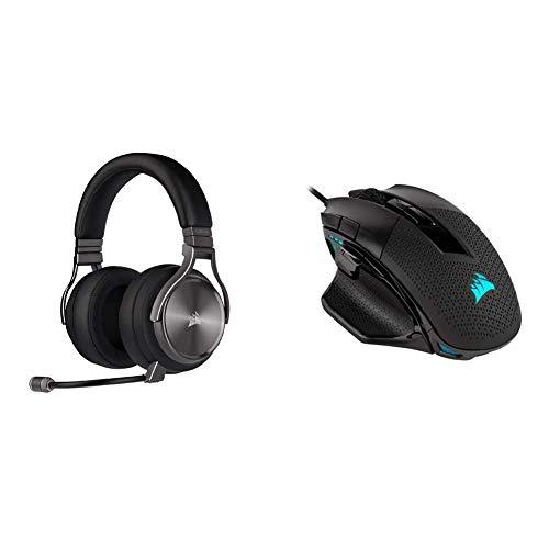Corsair Virtuoso RGB Wireless SE Gaming Headset - Gunmetal & Nightsword RGB - Comfort Performance Tunable FPS/MOBA Optical Ergonomic Gaming Mouse with Backlit RGB LED, 18000 DPI, Black