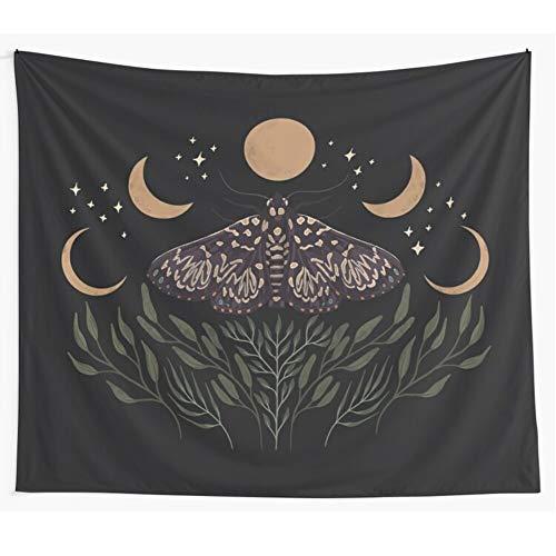 Bdhbeq Tapiz con Apariencia de Luna y Sol Negro para Colgar en la Pared, Tapiz de adivinación de Tapiz Gitano Bohemio, decoración de Mariposa