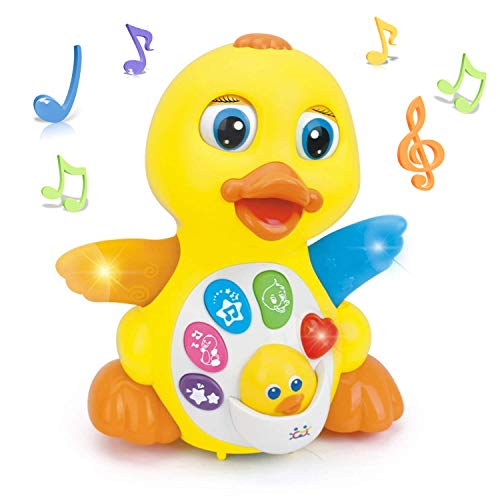 Woby Musical Duck Toy,Baby Preschool Educational Learning Toy with Music and Lights,Infant Light Up Dancing Toy for 1 Year Old Baby Toddler