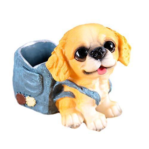 [クイーンビー] ミニチュア 犬 ペンスタンド ペン 立て かわいい おしゃれ 小さい 卓上 収納 ケース インテリア デスク アクセサリー 文具 文房具 鉛筆 事務用品 プレゼント (D)