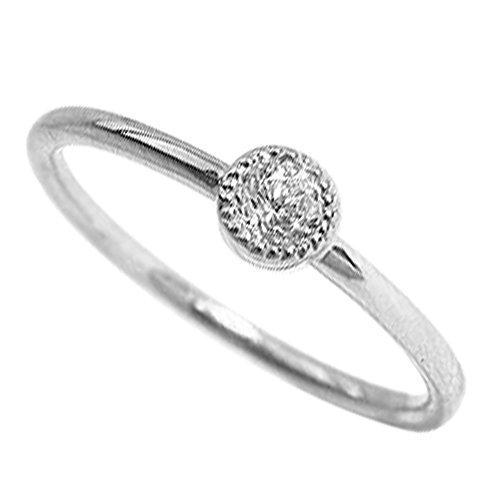 [ジュエリーアイ] 一粒 ダイヤモンドリング シンプル ミルウチ ピンキーリング ホワイトゴールドK10 K10WG 5号
