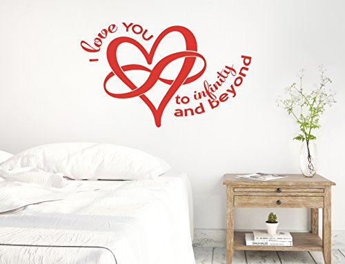 37'x24' I Love You to Infinity and Beyond Heart and Symbol Wedding Marriage Couple Together Forever Wall Decal Sticker Art Mural Home Decor