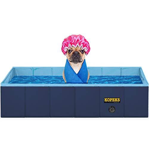 KOPEKS Outdoor Rectangular Swimming Pool Bathing Tub - Portable Foldable - Large...