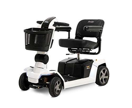 Pride Mobility ZT10 (Zero Turn 10) Four Wheel Recreational Scooter with CTS Suspension, 400 lbs. Weight Capacity (Pearl White)