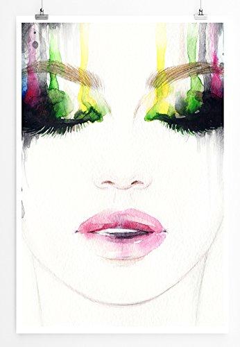 Eau Zone Bilder - Bild – Frauengesicht mit Buntem Augen Make-up- Leinwand Kunstdrucke Wandbilder aus Deutschland