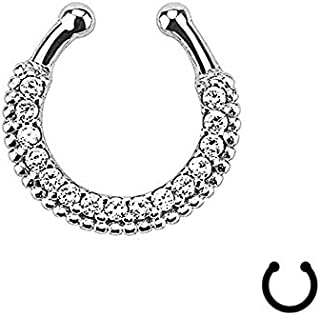 Fashion 1X Fake Clip On Non Piercing Crystal Septum Nose Ring Faux Clicker n Ve   Color - sliver 1119