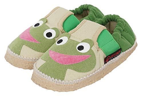 GIESSWEIN Baumwoll Slipper Ahlen - leichte Hausschuhe für Kinder, rutschfeste Pantoffeln, weiche Latex Sohle, Gummizug, Flexible Weite, Baumwolle