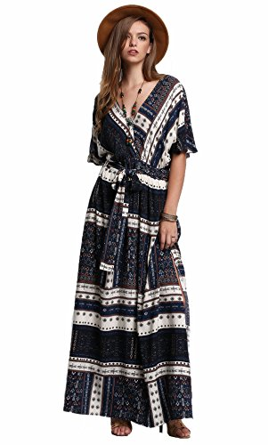 Milumia Women's Boho Split Tie-Waist Vintage Print Maxi Dress (Medium, Navy-2)