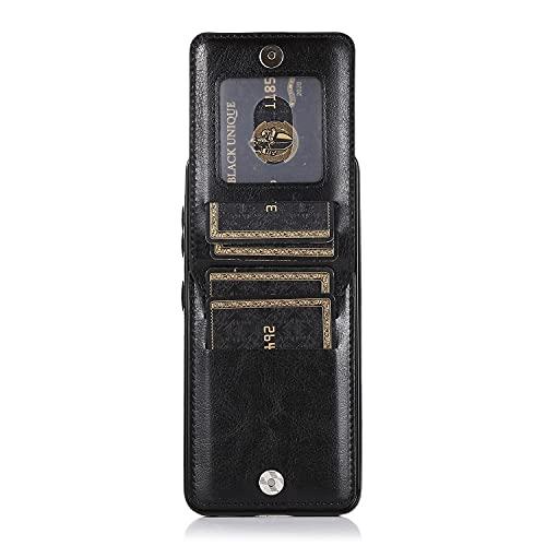 ZHENGNING Case Cover, per Samsung Galaxy S21 Cassa del Telefono PU Custodia in Pelle Vintage Antiurto Antiurto, Copertina con Portafoglio Morbido TPU Hard PC Cassa Protettiva Ibrida (Color : Black)