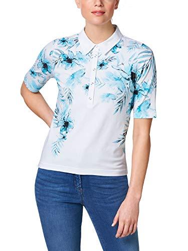 Walbusch Damen Poloshirt Hibiskusblüte Gemustert Aqua 50