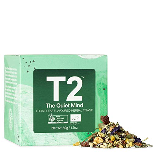 T2 - The Quiet Mind, Loose Leaf Flavoured Herbal Tisane, Wellness Tea with Ashwagandha Feature Cube, 50g, 1.7oz