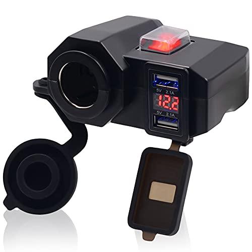 GOURIXIN Mechero de Motocicleta, Cargador de teléfono móvil de Motocicleta de 12-24 V, con enchufes USB Dobles e interruptores Independientes, Pantalla de monitoreo de Voltaje