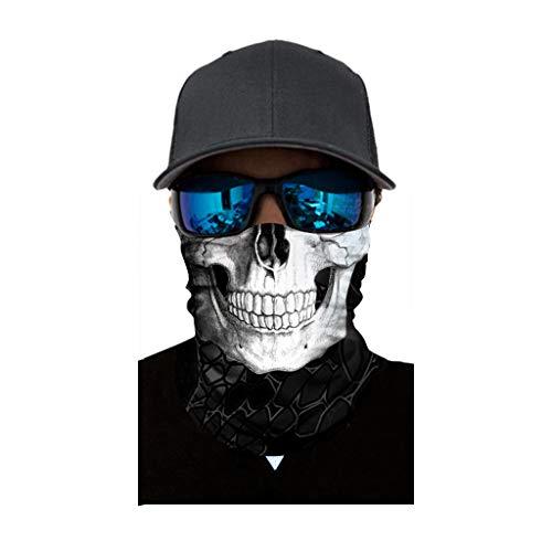Amcool Multifunktionstuch Herren & Damen - Atmungsaktiv & Schnelltrocknend - Wind Face Shield - Motorrad Gesicht Mundschutz Lustig Skull Maske Chopper Mund-Tuch Halsschlauch Halstuch mit Motiv (A)