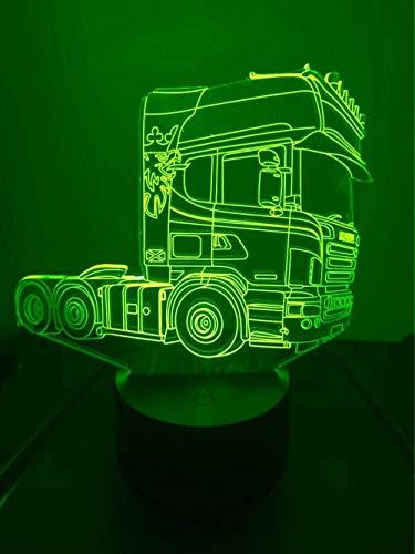 3D LED Lampen LKW Auto Traktor optische Täuschung Nachtlicht 7 Farben Kontakt Kunst Skulptur Lichter mit USB-Kabeln Lampe Dekoration Schlafzimmer Schreibtisch Tisch für Kinder Erwachsene