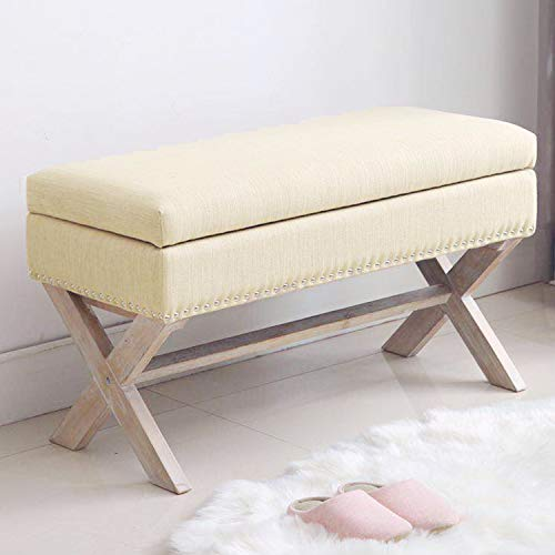 Fabric Storage Bedroom Bench Seat for End of Bed, Upholstered 36 inch Entryway Bench with X-Shaped Wood Legs for Living Room or...