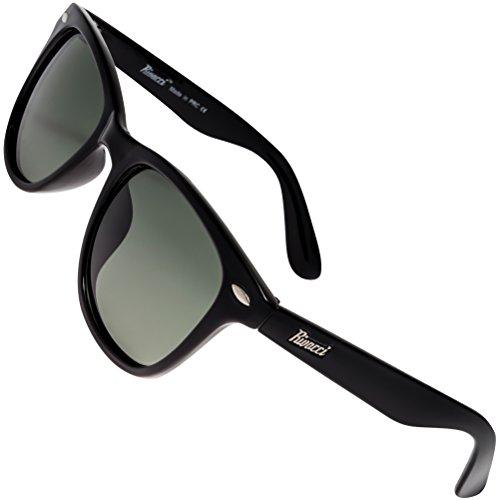 Rivacci - Gafas de sol polarizadas, diseño wayfarer (incluye funda y gamuza) 01 Wayfarer Noir / G15 ( Vert / Gris ) Polarisé Medium