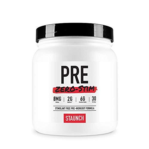 Staunch PRE Zero-Stim - 30 Servings, Aussie Apple Pre-Workout Powder, No Stimulates. with Betapure, L-Citrulline, Vitamin B12 and More