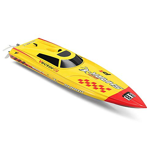 FMT Volantexrc Vector PRO Angry Shark 798-2 800mm 2.4G 2CH Brushless RC Boat ARTR Toys with Metal Propeller with Auto-Righting Structure ~ Fun for Freshwater, Pools, Lake, River