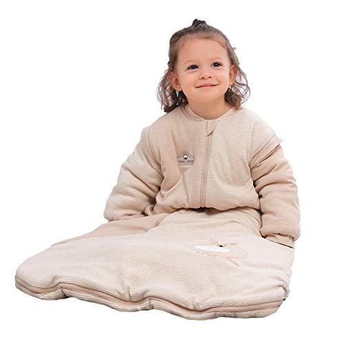 iEvolve 100% Baumwolle Baby Schlafsäcke Pucksack Abnehmbare Ärmel Pucktücher Herbst Baby Wrap Decke Winter Mit Känguru (90cm)