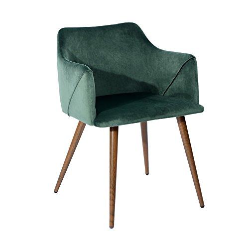 EGGREE Esszimmerstuhl Samt Retro Design Küchenstuhl Skandinavien Sessel mit Kissen Sitz und Holzmaserung Metallbein, Grün