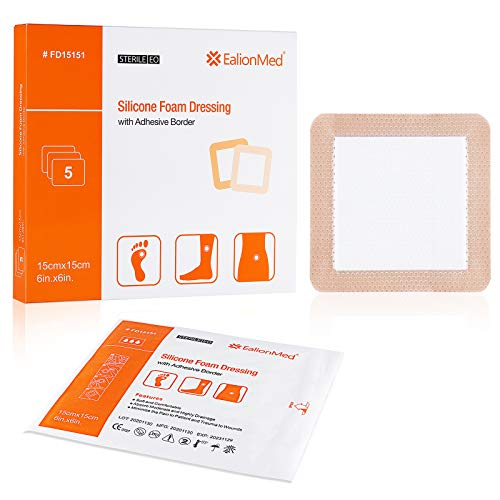 Silicone Foam Dressing with Gentle Adhesive Border 6''x6'' 5 Pack, Painless Removal High Absorbency Waterproof Bed Sore Bandage for Pressure Ulcer, Leg Ulcer, Diabetic Foot Ulcer by EalionMed