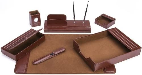 Luxury Majestic Goods Office Supply Leather DeskSet Piece 105 Detroit Mall 7 Brown