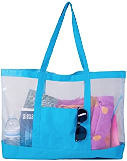 Carryall Huge See-Thru Mesh Beach Gym Tote Bag