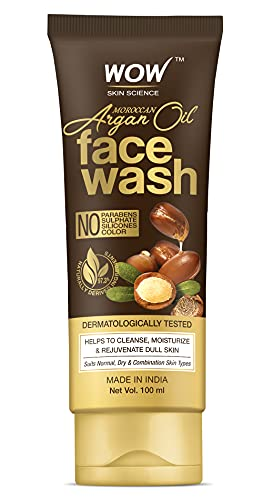 WOW Skin Science Moroccan Argan Oil Face Wash – Cleansing & Moisturizing – No Parabens, Sulphate, Silicones & Color – 100 ml