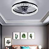 YCCY 20' Modern Round Ceiling fan with Lights, Fully Dimmable LED Light Kit, Hidden Reversible Blades, Multi-Speed and Timing with Remote Control, Flush Mount Low Profile Fan Matte Black